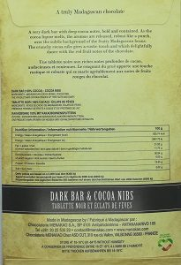 chocolat noir de Madagascar 100%